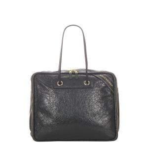 Balenciaga Black Leather Blanket Square Bag