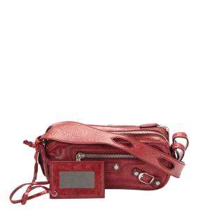 Balenciaga Red Leather Motocross Giant 12 Chic Bag