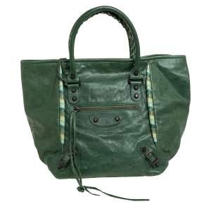 Balenciaga Green Leather RH Tote
