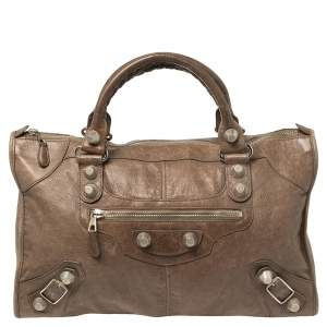 Balenciaga Brown Lambskin Leather Giant Work Bag