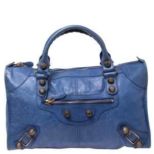 Balenciaga Blue Leather Giant Work Bag