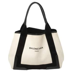 Balenciaga White/Black Canvas and Leather S Navy Cabas Tote