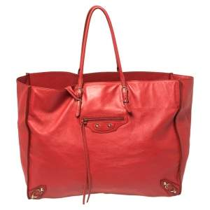 Balenciaga Red Leather Papier A4 Tote