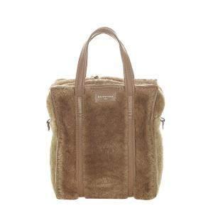 Balenciaga Brown Leather trimmed Shearling Bazar Shopper XS Bag