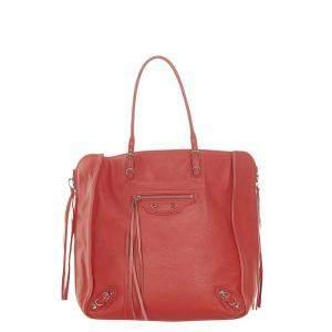 Balenciaga Red Leather Papier A5 Bag