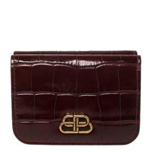 Balenciaga Burgundy Croc Embossed Leather Mini BB Wallet
