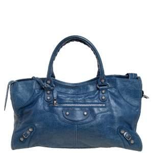 Balenciaga Bleu Cobalt Leather GSH Part Time Tote
