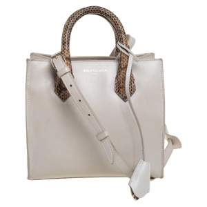 Balenciaga Grey/Beige Python and Leather Mini Padlock All Afternoon Tote