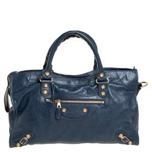 Balenciaga Blue Mineral Leather GGH City Tote