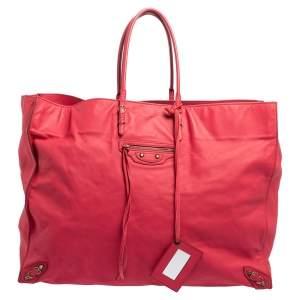 Balenciaga Pink Leather Papier A4 Tote