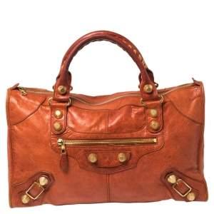 Balenciaga Burnt Orange Leather GGH Work Tote