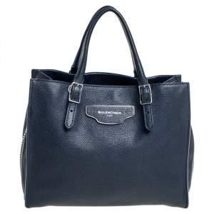 Balenciaga Blue Leather Mini Papier A4 Zip Around Bag