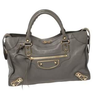 حقيبة يد توتس بالنسياغا سيتي جلد رصاصي كلاسيكية حروف ميتاليك