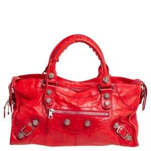 حقيبة يد بالنسياغا جي أس أتش بارت تايم جلد أحمر روج