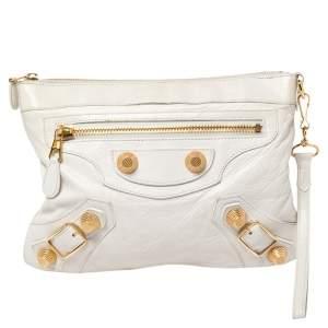 Balenciaga White Lambskin Leather Giant Gold Flat Clutch Bag