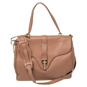 Balenciaga Tan Leather Tube Clasp Top Handle Bag
