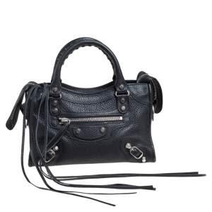 Balenciaga Black Leather Mini Classic City Tote