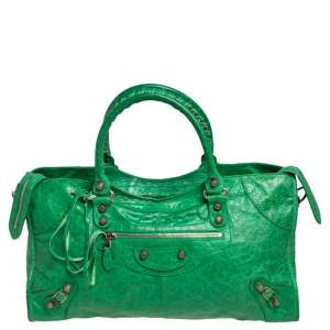 Balenciaga Apple Green Lambskin Leather Giant Part Time Shoulder Bag