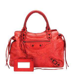 Balenciaga Red Leather Motocross Classic Midday Bag