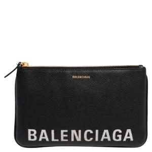 Balenciaga Black Leather Logo Pouch