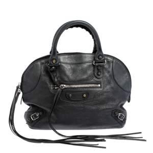 Balenciaga Black Leather Classic RH Bowler Satchel