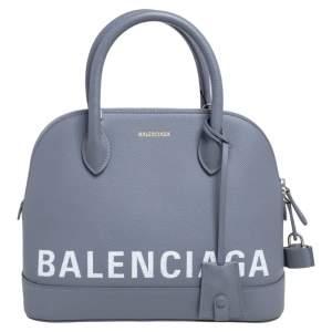 Balenciaga Grey Leather S Ville Logo Satchel