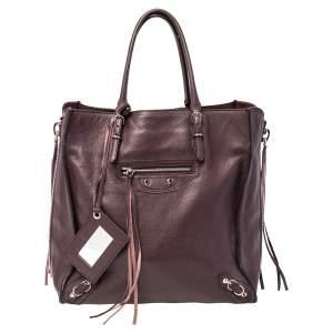 Balenciaga Burgundy Leather Papier A4 Zip-Around Mini Tote