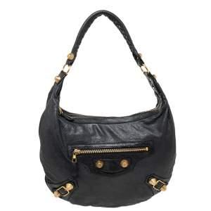 حقيبة هوبو بالنسياغا جاينت 21 جولد جلد أسود