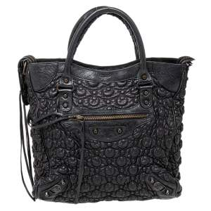 Balenciaga Black Matelassé Leather City Tote