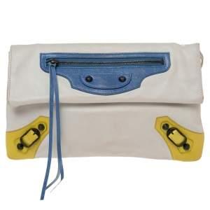 Balenciaga Tri Color Leather RH Envelope Clutch