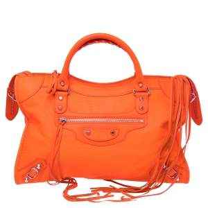 Balenciaga Orange Lizard Embossed Leather GGH Classic City Tote