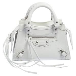 حقيبة يد توتس بالنسياغا ميني نيو كلاسيك جلد أبيض