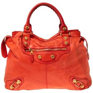 Balenciaga Red Leather Giant 21 Gold Hardware RTT Bag