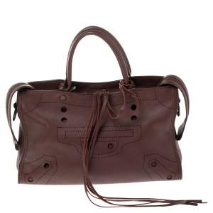 حقيبة يد توتس بالنسياغا بلاكاوت سيتي جلد عنابي صغيرة