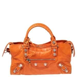 Balenciaga Tangerine Leather Giant 21 Work Tote
