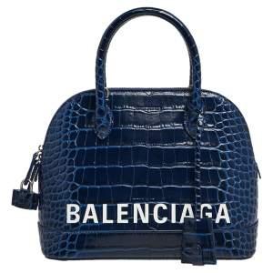 Balenciaga Navy Blue Croc Embossed Leather Ville Satchel