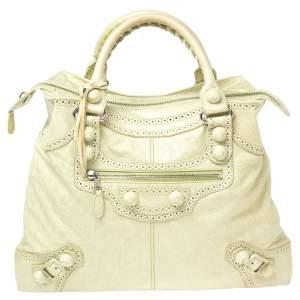 Balenciaga Light Green Leather GSH Brief Bag