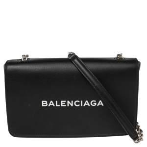 حقيبة كتف بالنسياغا سلسلة أفريداي جلد أسود