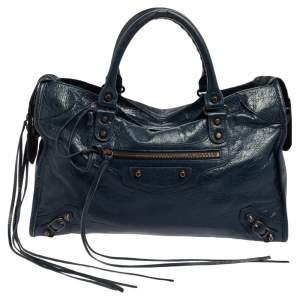 Balenciaga Blue Leather Classic City RH Tote