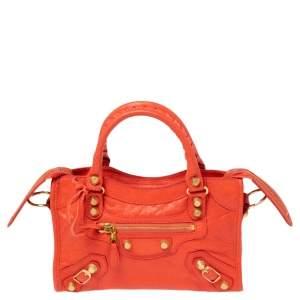 حقيبة بالنسياغا كلاسيك سيتي GGH جلد برتقالي ميني