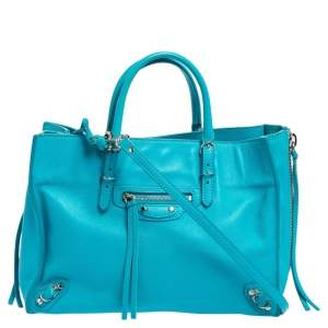 Balenciaga Sky Blue Leather Papier A6 Side Zip Tote