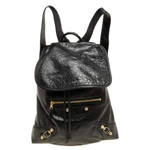 Balenciaga Black Leather Baby Diam Classic Traveller S Backpack