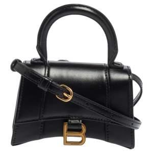 Balenciaga Black Leather Nano Hourglass Top Handle Bag