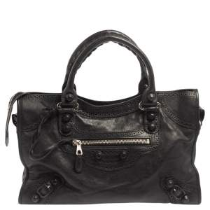 Balenciaga Black Leather Giant Brogues Covered Motorcycle City Bag