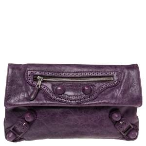 Balenciaga Murier Leather Giant Brogues Covered Envelope Clutch
