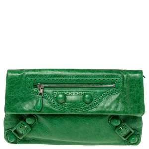 Balenciaga Vert Poker Leather Giant Brogues Covered Envelope Clutch