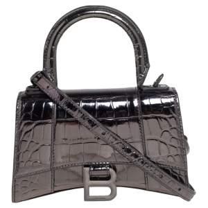 Balenciaga Dark Grey Croc Embossed Mirrored Leather Small Hourglass Top Handle Bag