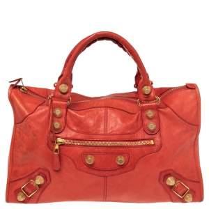 حقيبة يد توتس بالينسياغا وورك GGH  جلد برتقالي محمر