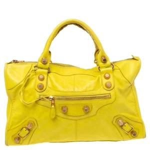 Balenciaga Yellow Leather Brogue GGH Work Tote