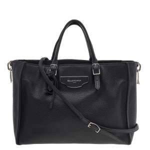 Balenciaga Black Leather Papier A6 Zip Around Tote